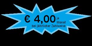 4 Euro monatlich bei jährlicher Zahlweise, entspricht 48 Euro jährlich. Abo-Vertrag verlängert sich automatisch jeweils um ein Jahr, wenn keine Kündigung erfolgt.